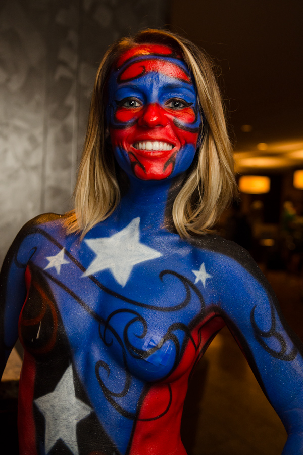 This is a picture of a body-painted female Captain America at Dragon ...